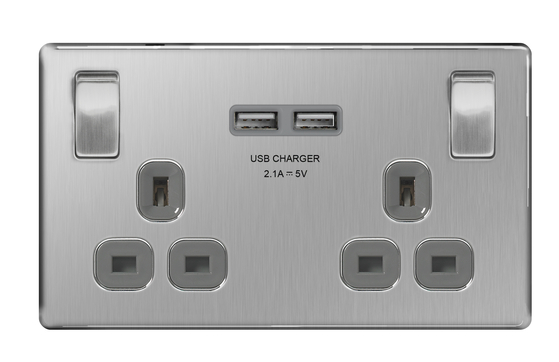 Brushed Steel Sockets and Switches from Socket Store