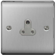 BG Nexus Metal Brushed Steel 5a Unswitched Socket Round Pin NBS29G