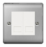 BG Nexus Metal Brushed Steel Double Slave BT Socket  NBSBTS2W
