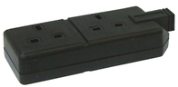 BG Rubber Extension Socket Heavy Duty Double Black ELS132B