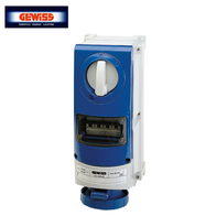 Gewiss Vertical Interlocked Socket Outlet  RCD Facility IP66 63A 2P & E 240V GW66869
