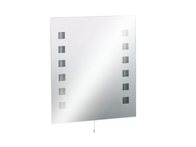 Knightsbridge Rectangular MirrorLight 12 Squares with Dual Voltage Shaver Socket & Demister Heat Pad RCT6070SD