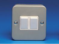 Schneider Metal Clad GMC622 Light Switch 2 Gang