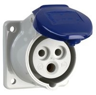 410306 -  Power Entry Connector, 16 A, 230 V, Panel Mount, Outlet, 2P+E / 2P3W, Blue