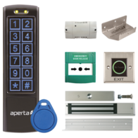Aperta Black Proximity Keypad and Contactless Exit Button Door Entry Kit with Foot-Pull EZTAG3PROBCF