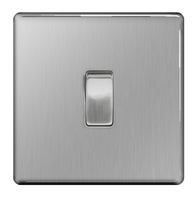 BG Nexus Brushed Steel Screwless Light Switch 1G FBS12