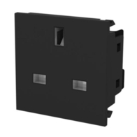 BG Electrical Euro Module Unswitched Socket Black EMUKSB