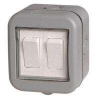 BG Electrical IP55 Outdoor 2Gang Light Switch WPB42