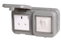 BG Electrical IP55 Outdoor Unswitched Socket & 1 Gang Light Switch WPB21