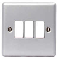 BG Electrical Metal Clad 3G Light Switch MC543