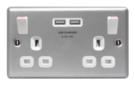 BG Electrical Metal Clad USB Double Socket MC522U3