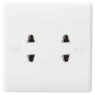 BG Electrical Nexus White Moulded 16A 2G shuttered Euro socket 898