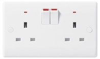 BG Electrical Nexus White Moulded 2G Double Socket with Indicators 826