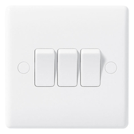 BG Electrical Nexus White Moulded 3G 2W Switch 843