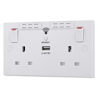 BG Electrical Nexus White Moulded Double Socket WI-FI Range Extender With USB 2.1A 922UWR
