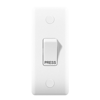 BG Electrical Nexus White Moulded Retractive Switch marked 'PRESS' 849