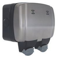 BG Electrical Stainless Steel Weatherproof Double Socket WPL22