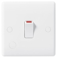 BG Electrical White Moulded 20 Amp Double Pole Switch with Flex Outlet 832