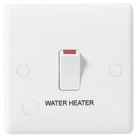 BG Electrical White Moulded 20 Amp Double Pole Switch with Flex Outlet and marked Water Heater 832WH