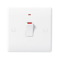 BG Electrical White Moulded 20 Amp Double Pole Switch with Indicator 831