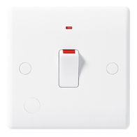 BG Electrical White Moulded 20 Amp Double Pole Switch With Neon & Flex Outlet 833