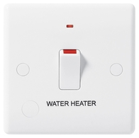 BG Electrical White Moulded 20 Amp Double Pole Switch With Neon & Flex Outlet marked Water Heater 833WH