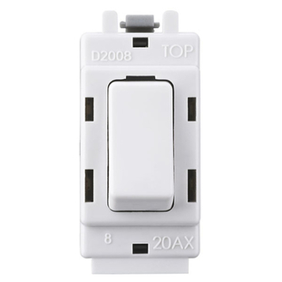 BG Electrical White Moulded 20AX 2 Way Single Pole Centre Off Grid Switch G12C
