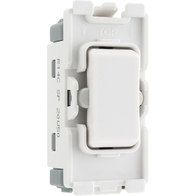 BG Electrical White Moulded 20AX 2 Way Retractive Single Pole Centre Off Grid Switch New Style R14C