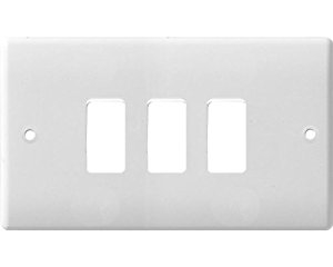 BG Electrical White Moulded 3G Grid Plate G83