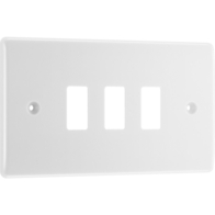 BG Electrical White Moulded 3G Grid Plate New Style R83