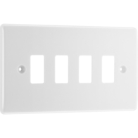BG Electrical White Moulded 4G Grid Plate New Style R84