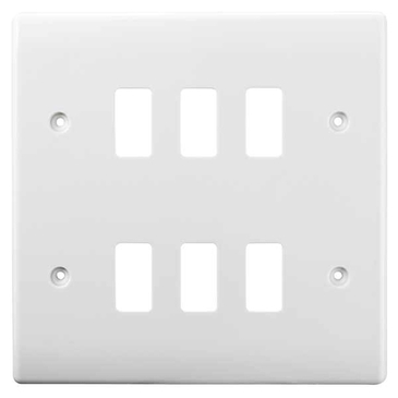BG Electrical White Moulded 6G Grid Plate G86