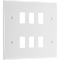 BG Electrical White Moulded 6G Grid Plate New Style R86