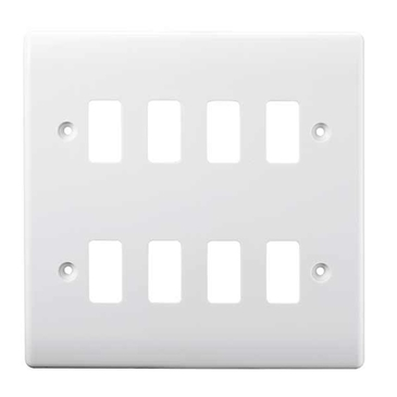 BG Electrical White Moulded 8G Grid Plate G88