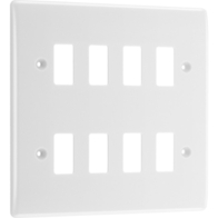 BG Electrical White Moulded 8G Grid Plate New Style R88