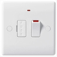 BG Electrical White Moulded Switched Spur With Flex and neon  Outlet 853