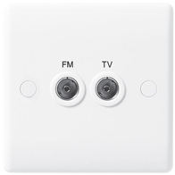 BG Electrical White Moulded TV/FM Diplex Plate 866
