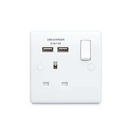 BG Electrical White Moulded USB Single Socket 821U2