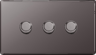 BG Nexus Black Nickel Screwless Dimmer 3G FBN83P