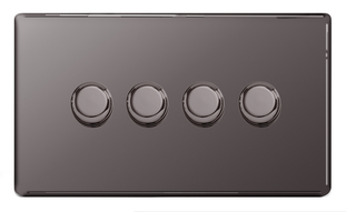 BG Nexus Black Nickel Screwless Dimmer 4G FBN84P