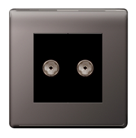 BG Nexus Black Nickel Screwless Double TV Coax Socket FBN61