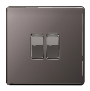 BG Nexus Black Nickel Screwless 2W & INT Light Switch FBN2WINT