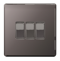 BG Nexus Black Nickel Screwless Light Switch 3G FBN43