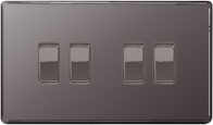 BG Nexus Black Nickel Screwless Light Switch 4G FBN44