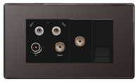 BG Nexus Black Nickel Screwless Quadplex TV-FM-SAT (X2) & Return Tel Socket FBN69