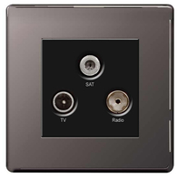 BG Nexus Black Nickel Screwless Triplex Socket FBN67