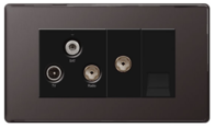 BG Nexus Black Nickel Screwless Triplex TV-FM-SAT & Return Tel Socket FBN68