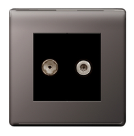 BG Nexus Black Nickel Screwless Twin Satellite Socket FBN642