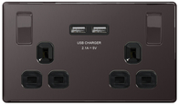 BG Nexus Black Nickel Screwless USB Double Socket FBN22U3B