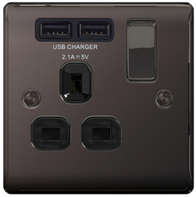 BG Nexus Black Nickel USB Single Socket Black Inserts NBN21UB